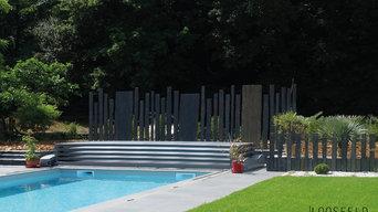 Jardin contemporain en schiste et dalles de grès cérame