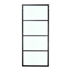 """Belleze 36""""x84"""" Barn Door Panel Clear Tempered Glass, Black"""