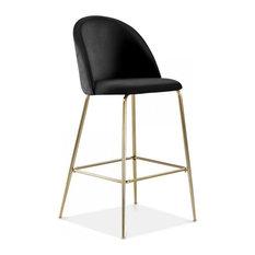 Millennial Brass Velvet Upholstered Dining Bar Stool, Soft Black, 65 cm