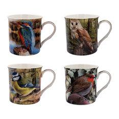 4-Piece Set Birds Mugs