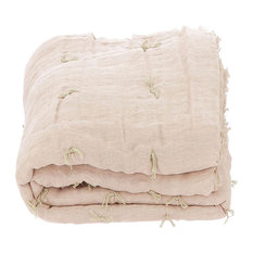 Double Tied Linen Quilt, Powder Pink, Euro King
