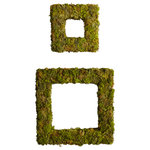 Melrose International - Moss Wreaths, Set Of 2, Green - Square wreaths covered in a lifelike moss texture and design. Two sizes available. Perfect for the spring or summer!