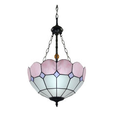 Lampsluma - 16 quot; Tiffany Stained Glass Chandelier, Pink Trimmed Mediterranean - Chandeliers