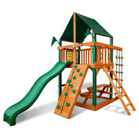 Chateau Tower Swing Set With Timber Shield And Deluxe Green Vinyl Canopy