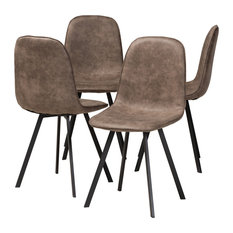 Holliney Gray And Brown Imitation Leather 4-Piece Metal Dining Chair Set Set