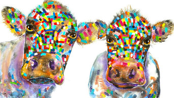 Tracey Keller 2 Cows Canvas Print