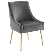 Discern Upholstered Performance Velvet Dining Chair, Gray