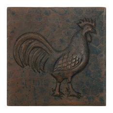 Rooster Design Copper Tile