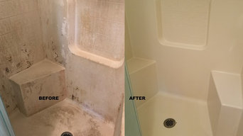 Before and after of shower bathtub
