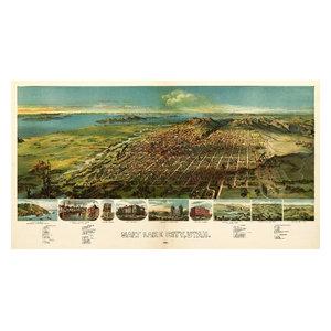 24x36 1875 Brigham City Utah Vintage Old Panoramic City Map