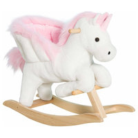 Qaba Kids Wooden Plush Ride-On Unicorn Rocking Horse Chair Toy With Sing Along
