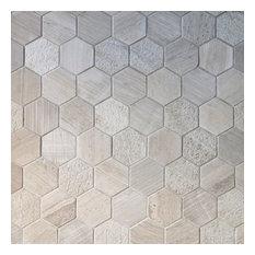 Gl Stone Tile Wood Gray Multi Surface Hexagon Mosaic