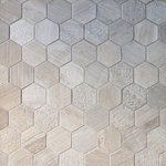 "GL Stone Tile - Wood Gray Multi Surface Hexagon Mosaic - This Wood Grey Marble Hexagon Mosaic features a perfect mix of Honed,Bush Hammered And Linear Textures, creating an array of patterns all from the same stone type and shape. Each chip is approximately 2.75"" in size and the overall tile is 13"" x 10.75"". Sold in boxes of 5 tiles, approx 4.85 sq. ft. per box."