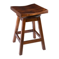 """Rustic Swivel Saddle Stool, Maple Wood, Michael's Cherry, Counter Height, 24"""""""
