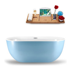 """59"""" Blue Freestanding Tub and Tray With Internal Drain, Oval Shaped"""