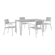 Modway Maine 5 Piece Outdoor Patio Dining Set EEI-1747-WHI-LGR-SET