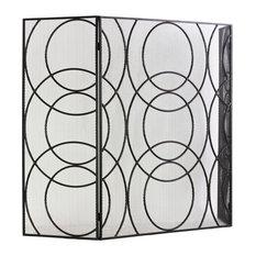 "Metal Hinged Fireplace Screen With ""Circle in Circle"" Design"