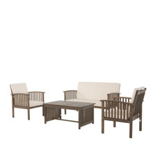 GDF Studio 4-Piece Carolina Gray Finish Acacia Chat Set