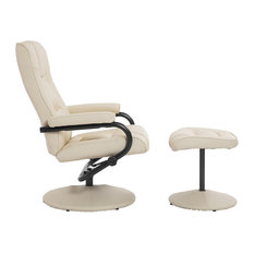 Aosom   HomCom Leather Recliner And Ottoman Set, Cream   Recliner Chairs