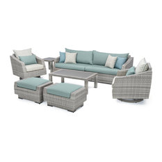 Cannes 8-Piece Deluxe Sofa and Motion Club Chair Set, Spa Blue