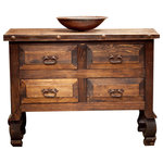 """FoxDen Decor - 4 Drawer Rustic Bathroom Vanity, 36""""x20""""x32"""" - This is a very unique bathroom vanity and isn't designed like most vanities. This vanity contains 2 false drawers on the top but leaves the bottom two completely functional. The style of the legs is a unique style called """"yugo"""". The vanity is made from 100% solid wood and the top is coated with a non glossy coat of polyurethane which protects it from any water damage. We create each item by hand when you place your order."""