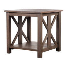 Vibrant Furnishings   Rustic Farmhouse Style East End End Table, Weathered  Gray   Side Tables