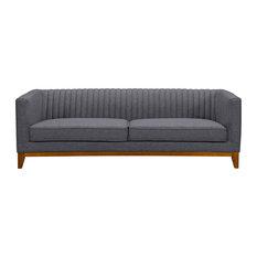 Prism Mid-Century Sofa, Champagne Wood Finish and Dark Gray Fabric