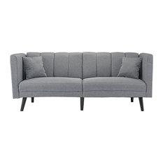 Sofamania   Mid Century Plush Tufted Linen Fabric Sleeper Futon Sofa, Light  Gray   Sleeper