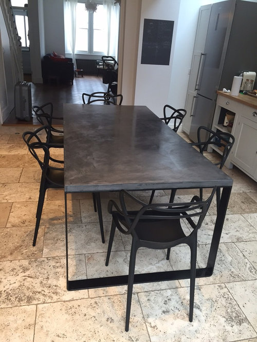 2 Metre Flat Steel Base Polished Concrete Dining Table - Products