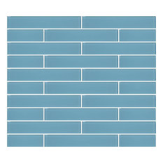 "Infinity Blue Glass Subway Tile, 2""x12"" Tiles, Set of 6"