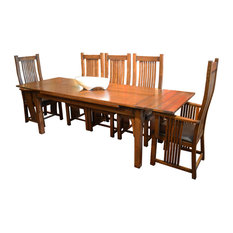crafters and weavers arts and crafts oak dining table with 2 leaves 8 high