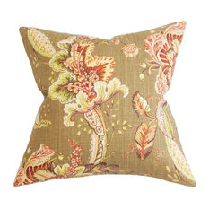 "Eluned Floral Pillow Brown 18""x18"""