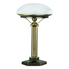 Brass Decor Glass Shade White Bankers Table Lamp Office