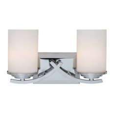 2 Lights Vanity with White Opal Glass - Chrome