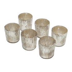 Small Ribbed Silver Votive Holder, Set of 6