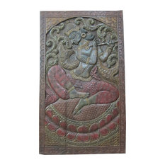 Mogul Interior - Hand Carved Fluting Krishna Carving Wall Hanging Panel - Wall Decor