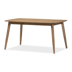 Baxton Studio - Edna Mid-Century Modern French Oak Light Brown Finishing Wood Dining Table - Dining Tables
