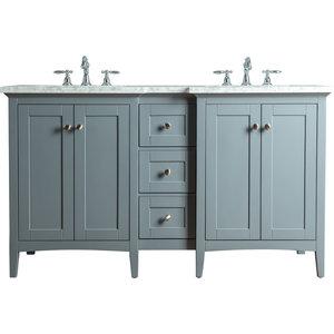 """Tower Modern Double Sink Bathroom Vanity, Gray, 60"""""""