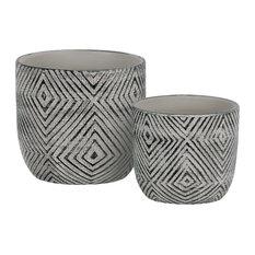 2-Piece Terracotta Decorative Planter Set With Lattice Diamond Design, Black