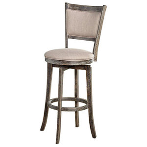 """Simple Living French Country Gray Rubberwood/Fabric 30"""" Swivel Bar Stool"""