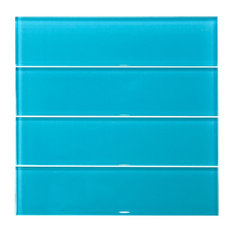 3x12 Light Turquoise Blue Subway Glass Tile, Turquoise Blue
