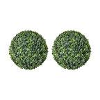 "VidaXL Boxwood Balls Artificial Leaf Topiary, 13.8"", Set of 2"