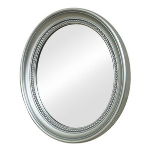 Silver Oval Bevelled Frame Wall Mirror 33.5cm x 38.5cm