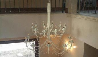 Lampadario con 20 luci in ferro battuto forgiato