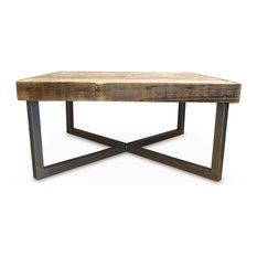 Delicieux Reclaimed Wood Coffee Table With Tube Steel Legs, 40