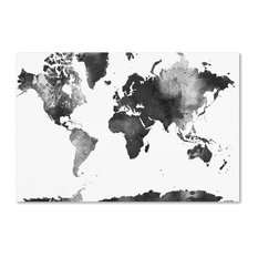 "Marlene Watson 'World Map BG-1' Canvas Art, 14""x19"""