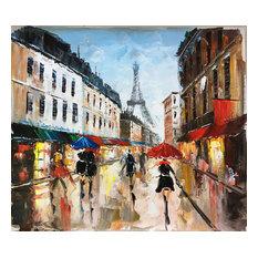 """Rainy Paris Streets II"" Hand Painted Oil Canvas Artwork; Modern Art; Fine Art"