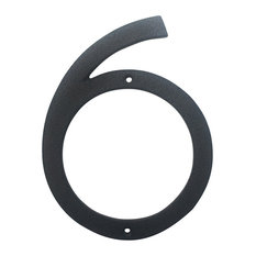 "Cast Iron Modern Wide 7"" House Number, Classic Rust-99, Number: 6"
