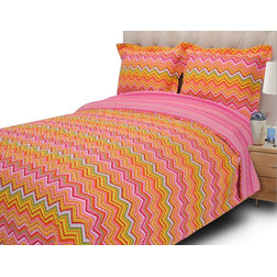 Great Modern Bedding HC Cotton Zig Zag Quilt Set Orange