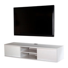 South Shore Agora 56 Wide Wall Mounted Media Console, Pure White